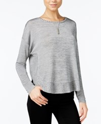 Bar Iii High Low Curved Hem Sweater Only At Macy's Heather Grey Combo