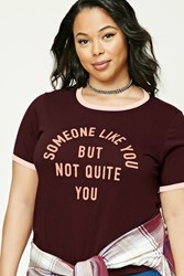 Forever 21 Plus Size Graphic Tee Burgundy Pink