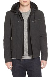 Black Rivet Men's Faux Leather Jacket With Hooded Bib