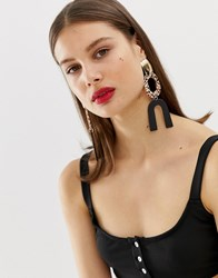 Asos Design Statement Earrings In Mixed Tort Resin And Metal Drop In Gold