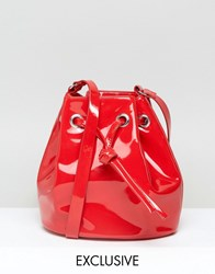 Monki Patent Bucket Bag Patent Red