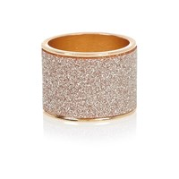 River Island Womens Gold Tone Pink Oversized Glitter Ring