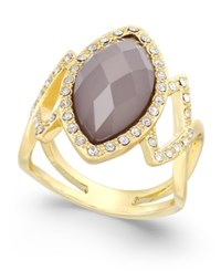 Inc International Concepts Gold Tone Gray Stone Pave Ring Only At Macy's