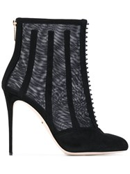 Dolce And Gabbana Mesh Cage Ankle Boots Women Leather Polyester Calf Suede 38 Black