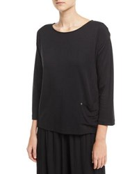 Joan Vass Mixed Media Pullover W Pocket Detail Plus Size Black