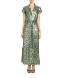 Pascal Millet Short Sleeve Notched Collar Sequin Wrap Evening Gown Green Metallic