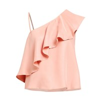Paisie Asymmetric Top With One Shoulder Frills In Dusty Pink Pink Purple