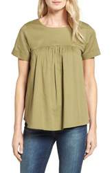 Bobeau Women's Back Bow Poplin Top Olive