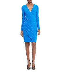 Ralph Lauren Faux Wrap Dress Madeline Blue