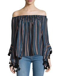 Romeo And Juliet Couture Off The Shoulder Striped Blouse Black Pattern