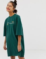 Lazy Oaf Oversized T Shirt Dress With Forgive The Mess Embroidery Green
