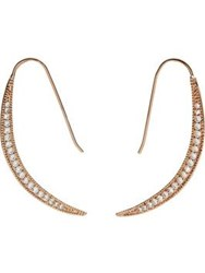 Cz By Kenneth Jay Lane Cubic Zirconia Sliver Crescent Earrings Rose Gold