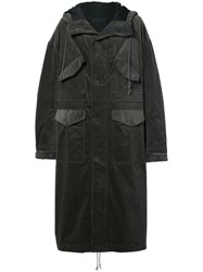 Haider Ackermann Oversized Long Hooded Coat Cotton Rayon Green