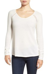 Lucky Brand Lace Trim Thermal Tee White