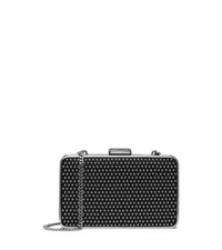 Michael Kors Elsie Micro Stud Leather Box Clutch Black