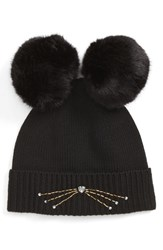 Kate Spade New York Embellished Cat Wool Beanie With Faux Fur Poms Black