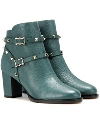 Valentino Rockstud Leather Ankle Boots Green