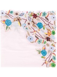 Faliero Sarti Embroidered Floral Scarf Pink