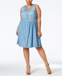 American Rag Plus Size Denim Fit And Flare Dress Only At Macy's Odeda Wash