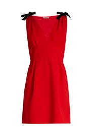 Miu Miu Deep V Neck Sleeveless Cady Mini Dress Red