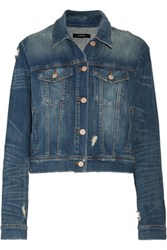 J Brand Harlow Distressed Denim Jacket Mid Denim