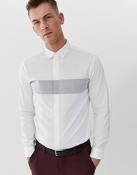 Selected Homme Slim Shirt With Body Stripe And Concealed Placket White
