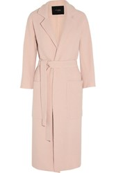 Maje Boiled Wool Coat Pastel Pink