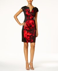 Connected Petite Printed Sheath Dress Red