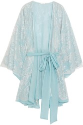 Rosamosario Cosmic Love Chantilly Lace And Silk Crepe Robe Sky Blue