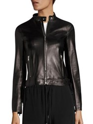 Red Valentino Lace Up Leather Moto Jacket Black