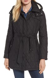 London Fog Women's Quilted Coat With Faux Shearling Lining Black