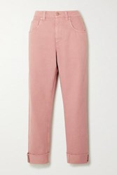 Brunello Cucinelli Bead Embellished High Rise Straight Leg Jeans Blush