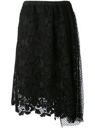 N 21 No21 Lace And Mesh Skirt Women Silk Polyester Acetate 40 Black