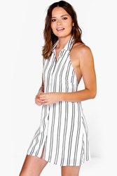 Boohoo Collared Halterneck Shirt Dress White