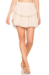 Loveshackfancy Ruffle Mini Skirt Tan