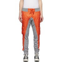 Greg Lauren Orange And Grey Paul And Shark Edition Quilted Cargo Pants