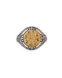Konstantino Flower Embossed 18K And Sterling Silver Signet Ring Yellow Silver