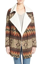 Junior Women's Sun And Shadow Faux Fur Lined Jacquard Jacket