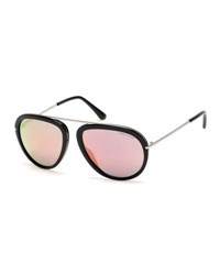Tom Ford Stacy Flash Aviator Sunglasses Black Silver Pink Black Silver Pink