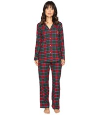 Lauren Ralph Lauren Folded Brushed Twill Pj Plaid Red Green Blue Women's Pajama Sets