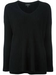 Rag And Bone V Neck Jumper Black