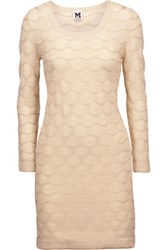 M Missoni Metallic Crochet Knit Mini Dress Ecru
