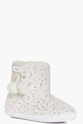 Boohoo Fleece Lined Pom Pom Slipper Boots Cream
