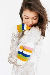 Urban Outfitters Rainbow Mittens White