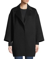 Neiman Marcus Luxury Double Faced Notch Collar Cashmere Topper Black