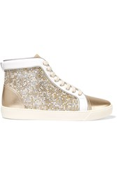 Rene Caovilla Embellished Satin And Metallic Leather Sneakers White