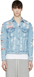 Phenomenon Blue Destroyed Denim Jacket