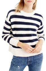 J.Crew Women's Textured Stripe Cotton Sweater