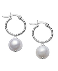 Macy's 14K White Gold Earrings Cultured Freshwater Pearl And Diamond Accent Hoop Earrings