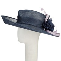 Vixen Millinery Emily Disc And Lace Occasion Hat Navy Sweetpea